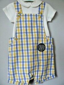 M & S Baby Boy 6 - 9 Months Dungarees & Bodysuit Set Check Pattern Dungaree VGC