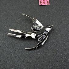Betsey Johnson Black/White Enamel Swallow Bird Charm Brooch Pin Halloween Gift
