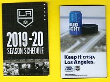 Lot of 2 Los Angeles Kings pocket schedule 2019 2020 sponsored by Bud Light NHL