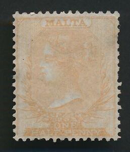 MALTA STAMP 1863 QV SG #3 1/2d BUFF NO WMK MINT FULL OG, SUPERB CLASSIC CV £850