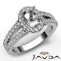 Halo Prong Oval Diamond Lustful Engagement Semi Mount Ring 14k White Gold 0.75Ct