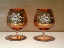 2 Hochzeitsgläser, Cognac - Gläser, verziert mit Gold und Blumen, handbemalt