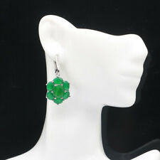 38x17mm Beautiful Real Green Emerald Natural CZ Woman's Silver Earrings