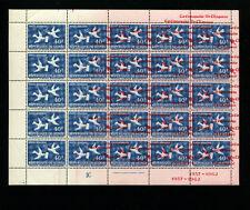 Guinea 1962 C35var BIRDS SPACE UN  DOUBLE OVERPRINT MAJOR SHIFT SHEET of 25