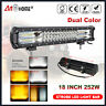 18 inch 252W White Amber Dual Color Strobe LED Work Light Bar Combo Offroad SUV
