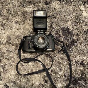 Ricoh xr7 slr rikenon 50mm lens promstic tcl2460 flash untested
