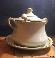 CAL ORIG 1038 USA 245 Covered Soup Tureen w/ Underplate & Ladle Yellow & Brown