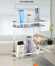 2 Layer Bathroom Storage Rack Towel Shower Rack Holder Hook Wall Mounted Shelf