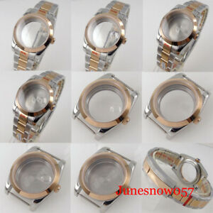 fit NH35A NH36A 36mm/39mm Two Tone Rose Gold Polish Bezel Watch Case Oyster Band