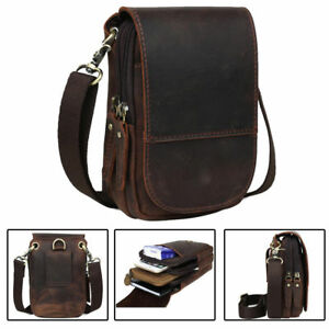 Men's Real Leather Hippe Wasit belt Pouch Small Shoulder Bag Sports Running Case