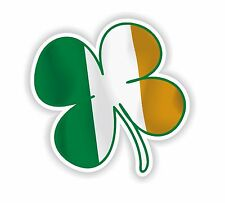 Irish 4 leaf clover with Eire Ireland Flag Sticker for Bumper Locker Tablet Car