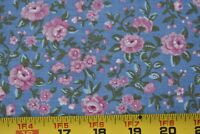 By 1/2 Yd, Vintage, Pink & Green Floral on Blue Quilt Cotton, Peter Pan, P806