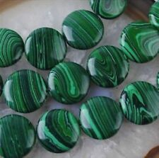12mm Green Multicolor Malachite Gem Coin Loose Bead 15''##KH159
