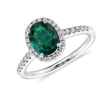 2.40 cts Natural Zambian Emerald Oval Cut and Diamond Halo 18k White Gold ring