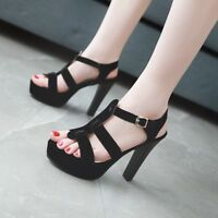 Fashion Womens Ankle Strap Platform High Heel Sandals Casual Peep Toe Shoes Size