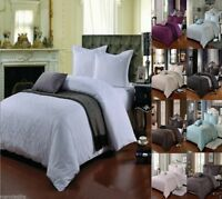 100% Egyptian Cotton 500 Thread Count Damask Jacquard Duvet Cover Bed Set