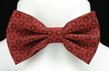New Red Patterned Bow Tie + Hanky Handkerchief  Ties Tuxedo Wedding Fashion Set
