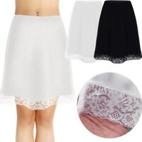 Womens Ladies Half Slip Underskirt Extenders Skirt Knee Length Plain Petticoat