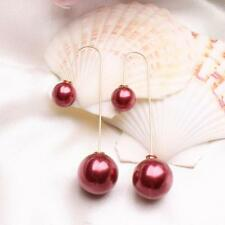 Dangle Drop Threader Pearl Long Chain Earrings Silver Plated Wine Red