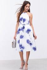 White Blue Purple Watercolor Floral Print Halter Full Skirt Midi Dress M