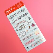 Beautiful Pastel Gold Foil Birthday Text Cardmaking Stickers Scrapbooking Craft