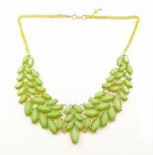 "NEW Green Acrylic Leaf Bib Statement Necklace Women 18 - 20"" Dress Adjustable US"
