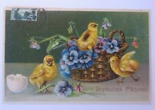 Easter, Küken ,Basket,Pansies,1909, Embossed Postcard (64421)