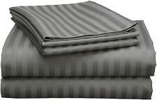 4 Piece Attached Waterbed Sheet Set 600-Tc 100-Percent Cotton Dark Grey Stripe