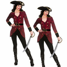 Deluxe Pirate Outfit Captain Adult Ladies Pirates Fancy Dress Costume