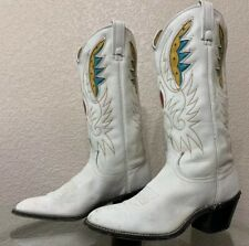 Vintage ACME Leather Inlayed White Yellow Blue Boots *RARE* Size 7C 53972