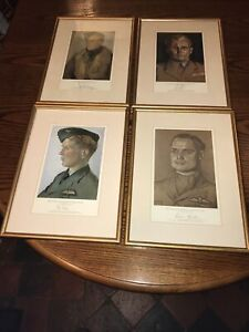 WW2 Rare Set Of Four Pilot Signed Prints Incl Douglas Bader DSO DFC
