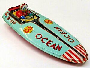 "1950's OCEAN B-619  racing speed Boat hydro Japan Bandai 10"" tin litho windup b1"