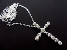 "A PRETTY  CRYSTAL CROSS NECKLACE. 18"" LONG. NEW."