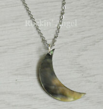 Abalone Shell Mother of Pearl Crescent Moon Pendant Necklace Ladies Girls Gift