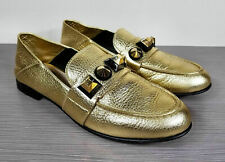 Fendi Studded Leather Loafers, Gold textured Leather, Womens Size 8.5 / 38.5