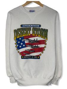Vintage Desert Storm 1991 Women's Size L White Hanes Pullover Sweatshirt USA euc