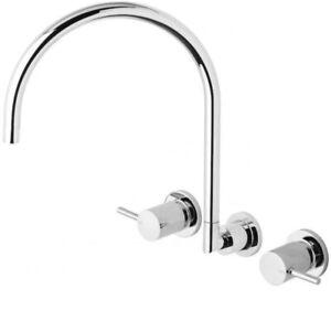 Phoenix Vivid Pin Lever Gooseneck 220mm Wall Sink Set VP810CHR