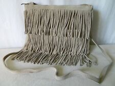 SAC travers bandoulière CUIR daim beige franges indienne squaw bag TBE