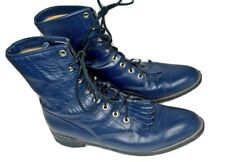 JUSTIN Women 9 B Blue Leather Kiltie Roper Cowgirl Western Riding Boots Made USA