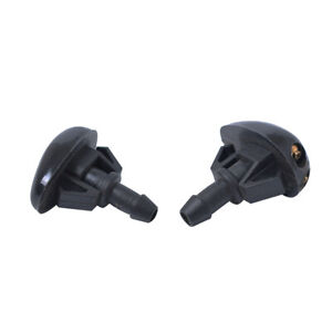 2Pcs Car Window Windshield Washer Wiper nozzle Spray Sprayer Accessories Black