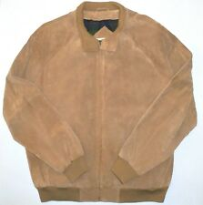 Mens L Orvis Suede Leather Lined Jacket Golden Brown