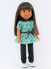 """Polka Dots And Lace Pant Set Fits Wellie Wishers 14.5"""" American Girl Clothes"""