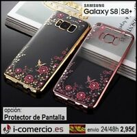 Funda Carcasa Silicona TPU Diamante Flores Metalizado Samsung Galaxy S8/S8+ Plus