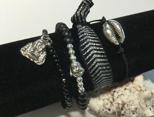 Armband Set 4 Stretcharmbänder Glasperlen Cowrie Kauri Boho Hippie Buddha A216