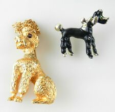 Lot of 2 POODLE DOG Brooches Pins  Goldtone Black Enamel  S33D