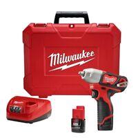 "Milwaukee 2463-22 M12 3/8"" 12V Lithium-Ion Cordless Impact Wrench Kit"