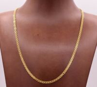 Solid All Shiny Bizmark Bismark Chain Necklace Real 10K Yellow Gold Reversible