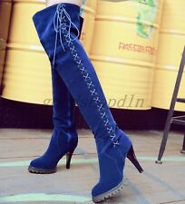 Womens Faux Suede Pointy Toe LAce Up Shoes High Heels Over Knee Thigh Boots Plus