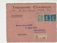 Theodore Champion Paris 1918 Registered Philatelic Stamps Cover FRONT Ref 31922