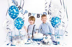 1st birthday Boy Decoration Blue 39pcs Party Set Balloon Banner Bunting